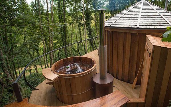 wow cedar yurt hot tub