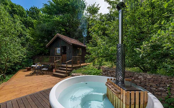 wow old orchard cabin wood hot tub