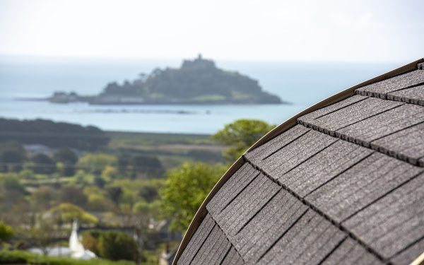 Mounts Bay Meadow Glamping sea view, across Mounts Bay and St Michael's Mount, Cornwall