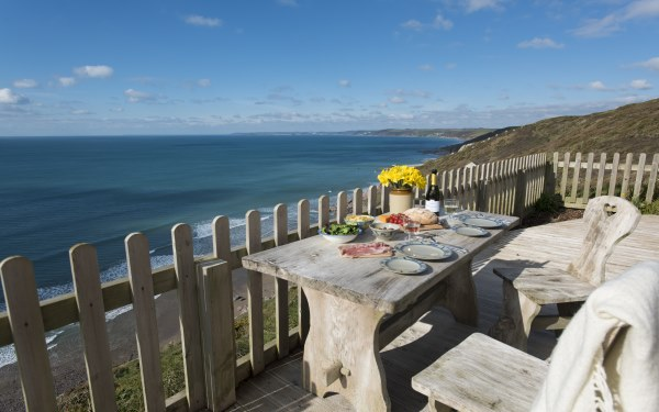 Rockwater Cabin sea view, over Whitsand Bay, Cornwall