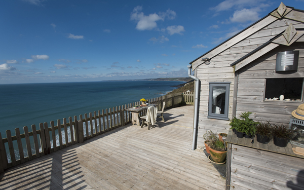 The stunning sea view from Rockwater Cabin